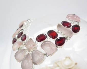 Pink Rose Quartz and Garnet Sterling Silver Necklace