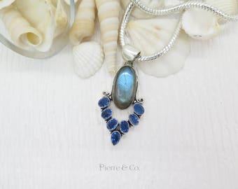 Rainbow Labradorite and Blue Topaz Sterling Silver Pendant and Chain