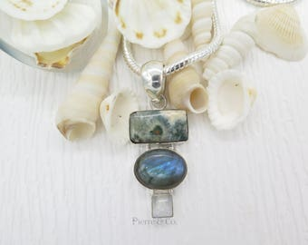 Ocean Jasper Labradorite and Moonstone Sterling Silver Pendant and Chain