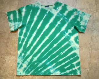 Hand Dyed T-Shirt - Ladies size large - green and aqua with cream - Radioactive - Tie Dye