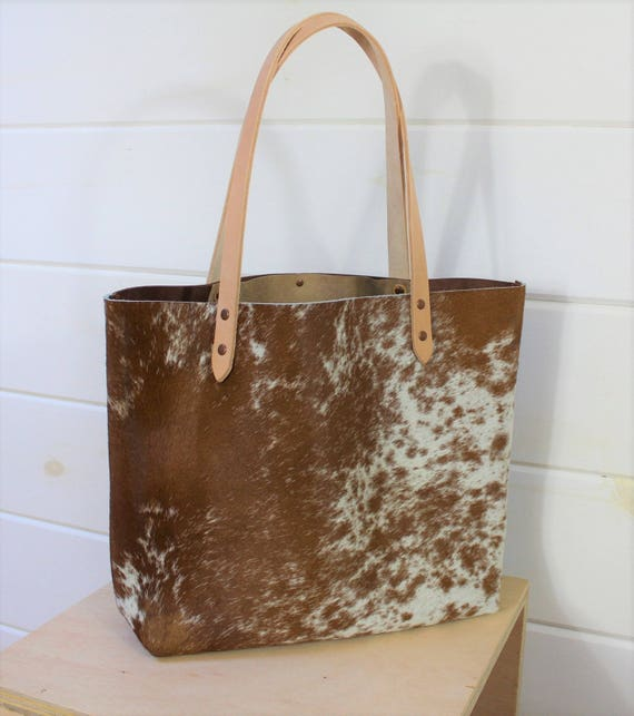 Cowhide +Leather Tote