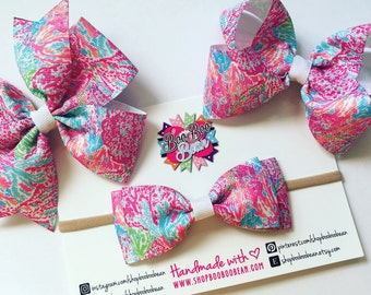 Lets Cha Cha, Lilly Pulitzer Inspired Hair Bow, Lilly Pulitzer Bow, Headband, Lilly Bow, Lilly Pulitzer Inspired Ribbon, Buy 5 Get 1 Free