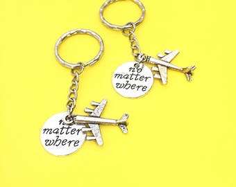 Friendship set of 2, Gift for Friend,Best Friend Keychains - set of 2, bff charm, no matter where bff, personalized, initial keychain,friend