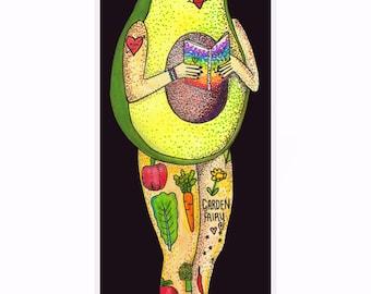 Vegan bookmark - Avocado Girl - Pen and Ink - Watercolour