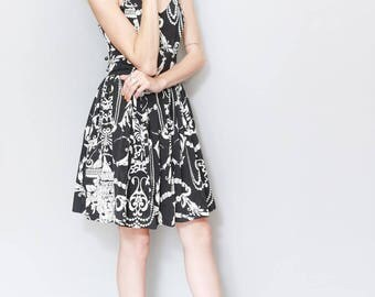 Vintage 1980's Pie Halter Neck Baroque Mini Dress