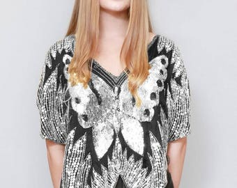Vintage 1970's Sparkly Black And Silver Sequin Butterfly Top