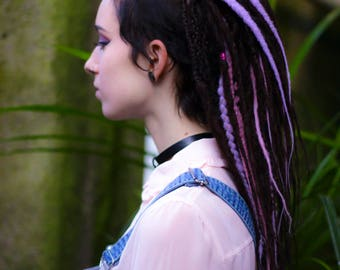 Set of natural look DE dreads double ended dreads accents pastel pink lavender dreads glow in dark dreadlocks