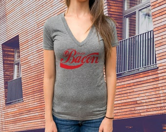 Enjoy Bacon Women T-shirt, Triblend Deep V-Neck Tee, Extremely soft