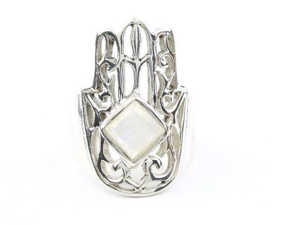 Moonstone Hamsa Ring, Sterling Silver Moonstone Ring, Hand Of Fatima, Hand Ring, Jewish Jewelry, Gemstone, Boho, Hippie, Spiritual