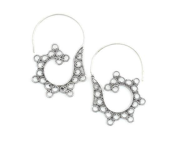 Ida Earrings, Spiral Earrings, Boho, Bohemian, Mandala, Tribal Earrings, Festival Jewelry, Gypsy Earrings, Ethnic, Hippie
