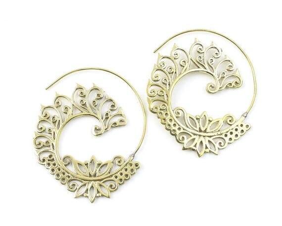 Tikapur Earrings, Spiral Brass Earrings, Swirl Earrings, Tribal Earrings, Festival Jewelry, Gypsy Earrings, Ethnic, Yoga