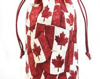 Canadian Flag Wine Bottle Gift Bag