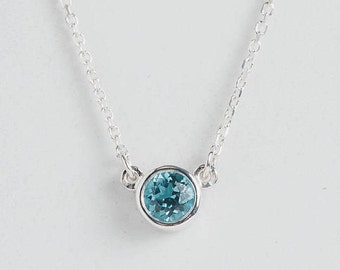 Birthstone Necklace | Natural Gemstone | Sterling Silver | Bezel Setting | 16' chain