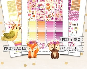 Forest Planner Stickers for Erin Condren Lifeplanner/Printable Planner Stickers/Autumn Stickers Printable/Forest Fox weekly kit/Autu
