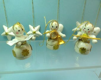 Vintage Christmas ornaments, hand painted wood, angel musicians + hearts and stars, white gold miniature Christmas tree ornaments Lot9