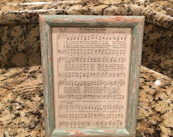 Hymnal Frame - Hymnal Craft - Framed Hymn - Distressed Frame
