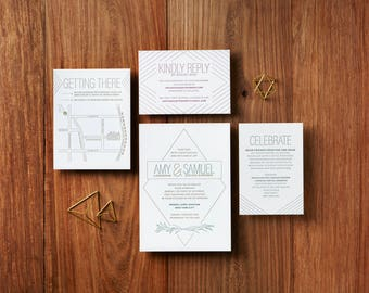 Art Deco - Custom Letterpress Wedding Invitations Stationery Suite, Deposit Only