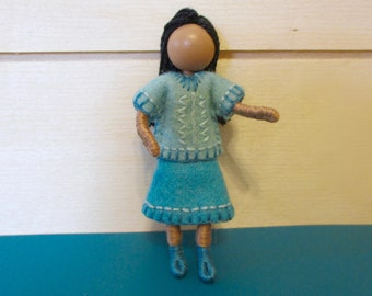 Joy - Middle Sister Doll - Multicultural - Dollhouse doll - Miniature doll - Bendy doll - Faceless doll - Waldorf doll - Montessori