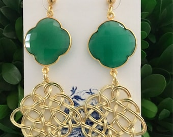 GOLD and GREEN Knot Earrings | lightweight, Designs by, Laurel Leigh, post earrings, statement earrings, emerald, clover, quatrefoil