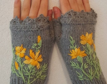 Hand Knitted Fingerless Gloves Mittens Marigold clothing Accessories Gift Women embroidered Lace