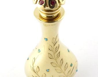 John Rubel & Co. Vintage 14K Yellow Gold Turquoise and Ruby Perfume Bottle Flacon #2010