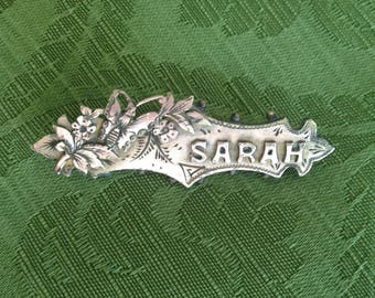 Antique Victorian Edwardian gold/silver name brooch pin Sarah Christening