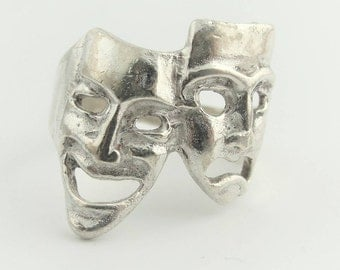 Dramatic Mask Ring- Sterling Silver