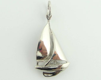 Sailing Boat Charm Pendant Necklace- Sterling Silver
