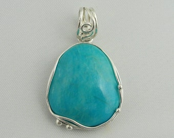 Natural Cut Turquoise Pendant- Sterling Silver