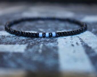 Men Simple Beaded Bracelet, Japanese Seed Bead Bracelet, Men Slim Bracelet, Men Thin Bracelet, Men Tiny Bracelet, Seed Bead Bangle
