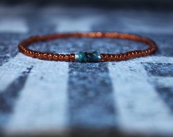 Emerald bracelet, Raw emerald, Orange Bracelet, Autumn Bracelet Men, Mens gift for him Husband Gift , Mens Seed Bead
