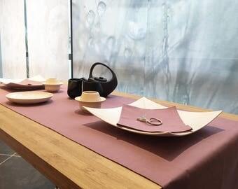 Purple 1 m 80 + 6 matching napkins, 100% linen table runner