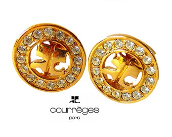 Vintage COURREGES Earrings, Goldtone Rhinestones Clip On Earrings, 70s Jewelry, Birthday Christmas Gift for Her, Girlfriend's gift
