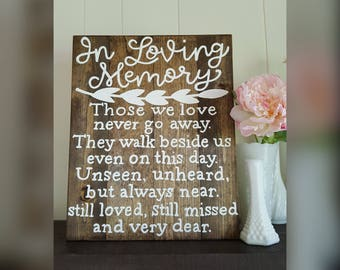 In loving memory - those we love never go away. They walk beside us even on this day. Unseen, unheard, but always near... Wood sign.
