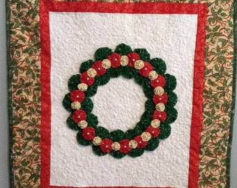 Quilted Christmas YoYo Wreath