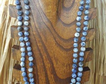"""60"""" 8mm Long Sodalite Matte Gemstone Beaded Necklace, Extra Long Sodalite Gemstone Necklace, 60"""" Matte Sodalite Beaded Necklace, Sodalite"""