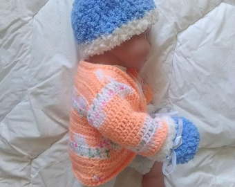matching 3 month baby hat and mittens