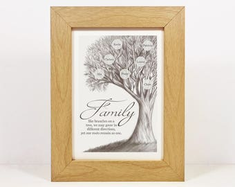 Framed Personalised Family Tree Print | Family Tree Sign | Family Tree Wall Art | Family Gift | Family Quote | Hand drawn Digital print