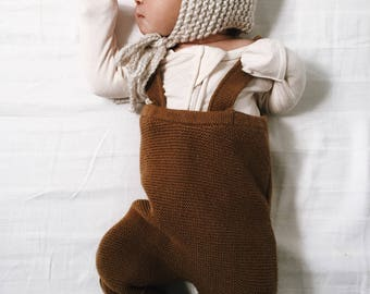 Hand Knit Baby Bonnet with pom pom
