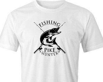 Fishing Pike hunters print T-shirt, Pike Fishing T-Shirt, Fishing Print T-Shirt, Fishing Rods Printed T-Shirt,Pike Coarse Fishing T-Shirt.