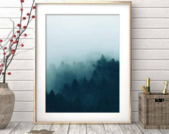 Forest Print, Forest Wall Art, Landscape Print, Forest Fog, Nature Wall Art, Trees, Mountain Photo, Nordic Art, Landscape Art, Foggy Forest