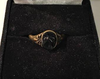 Black obsidian antique bronze ring