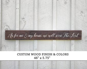 As for me and my house Sign, We will serve the Lord Long Sign, Wood Signs, Joshua 24:15 verse wood sign, Farmhouse Decor, Bible Verse Sign