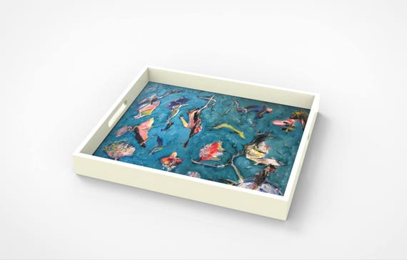 "Lacquer tray featured Artist Bruce Mishell titled ""The Birds"""