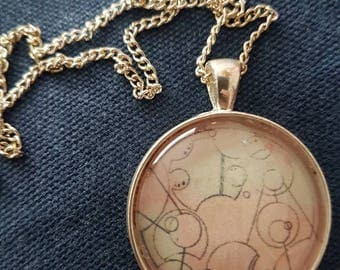 Gallifreyan Distressed Pendant Necklace | Doctor Who - inspired Jewellery