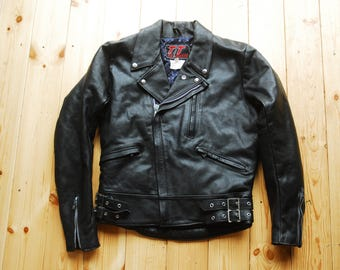 """Rare 1980's British Black Leather Motorcycle Biker Jacket by TT Leathers 38"""" Small"""