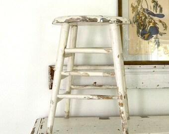 vintage chippy white stool shabby chic stool