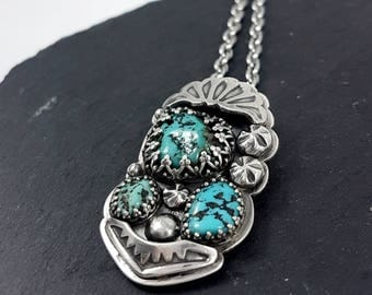 LaoOne * Sterling Silver pendant * Beautiful Alacron Turquoise