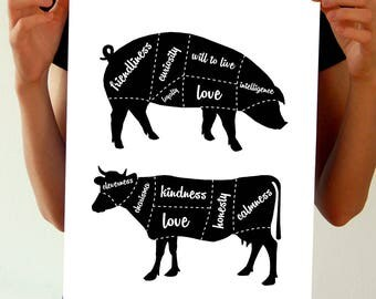 Vegan Poster - Animal Rights Activist Print, Go Vegan Art Activism - Animal Liberation/Cow/Pig - Animal Lover/Vegetarian Gift/Vegan Products