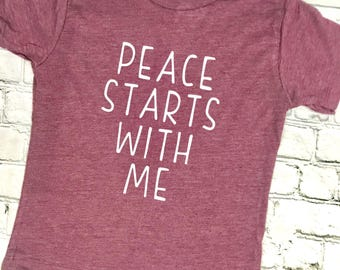 Peace Begins With Me, Inspirational Kids Shirt, Kids Clothes, Kids Yoga Shirt